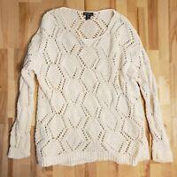 EDDIE BAUER Womens Cream Cotton Loose Knit Pullover Sweater Sz M
