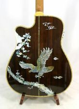 Alulu Acoustic Cutaway Guitar Solid Indian Rosewood Eagle Inlay with EQ NG02