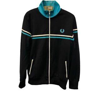 Fred Perry Track Jacket Men's Size L Large Black Blue Zip-Up Jacket