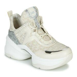 New Michael Kors MK Women's Olympia Trainer Scuba Sneaker Shoes Natural