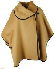 Womens Italian Lagenlook Faux Wool Buckle Collar Ladies Cape Jacket Plus Sizes