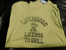 LIFE IS GOOD LICENSE TO GRILL LONG SLEEVE T SHIRT Mens XXL Green NWT