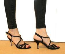 Unisa Sexy Ladies Sandals 5 38 Black Strappy Leather Lined Holiday Party Evening