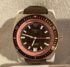 Zodiac Sea Dragon Rare Pink Highlight Brown Stainless Steel Watch ZO2268
