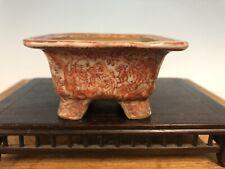 Beautiful Red Painted Shohin Size Bonsai Tree Pot Seifu Yohei 3 1/8 Gold Repair