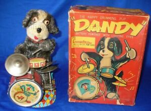 ALPS HAPPY DRUMMPING PUP DANDY BATTERY OPERATED DRUMMER JAPAN BOXED TOY VINTAGE