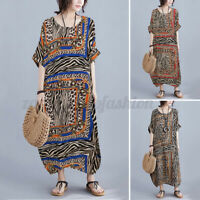 ZANZEA Women Loose Kaftan Vintage Printed Maxi Dress Short Sleeve Sundress Plus