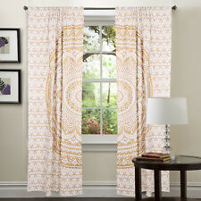 White Gold Door Wall Hanging Window Curtain Indian Mandala Drape Panel Valances