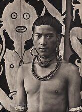 1940 Original BORNEO SEMI NUDE MALE Kelabit Jewelry Art Photo Gravure K.F. WONG