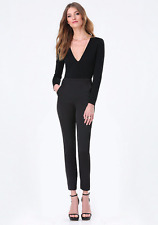 Flattering BEBE black satin and lace pants size 8 NWT $137