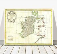 Vintage Bonne Map of IRELAND 1771 CANVAS PRINT 24x18""