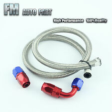 AN-8 Stainless Steel Braided Oil Fuel Line Hose 1M/3FT + 0°+ 90° Swivel Fitting