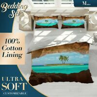 Beach Cave Palm Tree Green Quilt Cover Single Bed Double Queen King Size