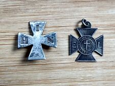 Maltese Crosses Pair of (2) Sterling Pendant / Pin Gorham, 1886 Vintage Jewelry