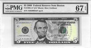 $5 2009 FEDERAL RESERVE STAR NOTE BOSTON F 1995 A *  LUCKY MONEY VALUE $750