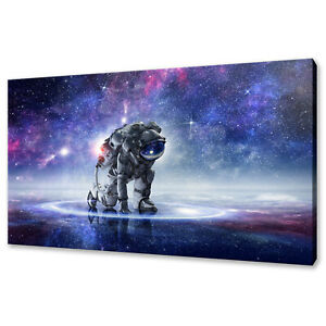 BEAUTIFUL COLOURFUL SKY GALAXY ASTRONAUT SPACE BOX CANVAS PRINT WALL ART PICTURE