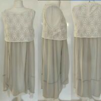 MINT VELVET Women's Dress Grey White Sheer Flare Crochet Occasion Wedding UK 14