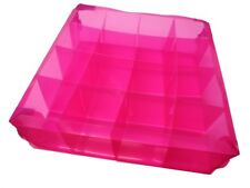 16 Pockets Compartment Craft Underwear Storage Foldable Plastic Tray Case Pink