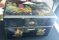 "VINTAGE JAPANESE MUSIC BLACK LACQUER JEWELRY BOX 12.5"" X 8.5"" X 8"""