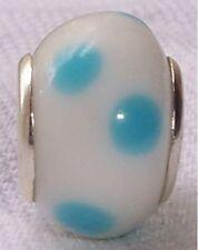 Blue White Dot Lampwork Murano Glass European Bead for Silver Charm Bracelets
