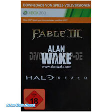 XBox 360 Fable III 3, Alan Wake + Halo Reach - DOWNLOAD CODE - TOP