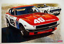 "BRE Datsun 240z w/John Morton and Tullius #44 (19""x13"") sold by Peter Brock BRE!"