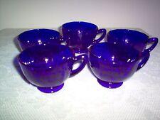 New Martinsville Addie 34 Blank Cobalt Blue 5.5 oz Cups - SET of 5 - MINT - NICE