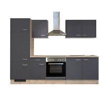 Küchenzeile Küchenblock Einbauküche Elektro-Geräte 270 cm grau matt beige
