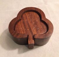 Handcrafted Wooden Carved Clover Design Decorative Set of 6 Coasters