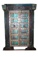 India Antique Carved Jaipur Doors & frame Teal Blue Old World Design Pillars 18C