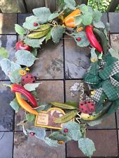 "Chili Pepper Sunflower Ladybug Peapod Watering Can Seeds Wreath 16"" by 5"" Deep"