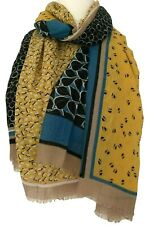 Mustard Yellow Scarf Ladies Oversized Patterned Wrap Blue Black Leaves Shawl