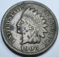 1908 XF US Indian Head Penny 1 Cent Old Antique U.S. Currency Money Coin USA