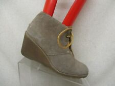 Sperry Top Sider Tan Suede Lace Up Wedge Ankle Fashion Boots Bootie Size 8 M