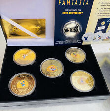 More details for official disney 80 years anniversary fantasia micky mouse coins gold and silver