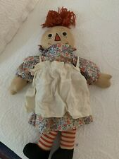 """VINTAGE GEORGENE BLACK OUTLINED NOSE, cloth Raggedy Ann, 19 """""""