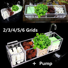 2-6 Grids Acrylic External Hang On Filter Box Aquarium Fish Tank w/ Water