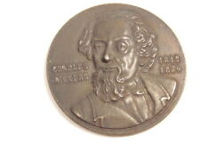 Charles Dickens, English author, white metal medal with birth/ death dates