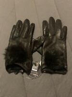 $82 NWT LORD & TAYLOR LEATHER AND RABBIT FUR POM BROWN GLOVES SIZE L/XL - JC307