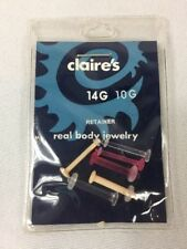 CLAIRE'S Replacement Retainer Pack NEW 14 GAUGE /10G TONGUE BARBELL BODY JEWELRY