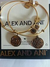 Alex and Ani Because I Love You AUNT Charm Bangles Bracelets SET NWT BOX R Gold