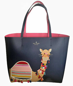 Kate Spade New York Camel Spice Things Up Luvvie Leather Tote Len Navy Handbag
