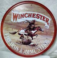 Winchester Logo Metal Tin Sign Cowboy Horse Firearms Guns Western Decor Gift