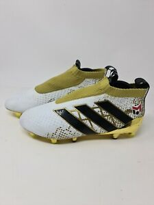 Adidas ACE 16+ Purecontrol SG Men's size 8 UK Football Boots White / Gold Used