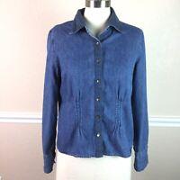 J Jill Womens Top Denim Long Sleeve Button Front Pintuck Crochet Detail Size S