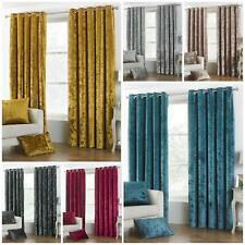 CRUSHED VELVET Ready Made FULLY LINED LUXURIOUS Curtains EYELET Ring Top