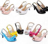 Womens Kitten Heel Shoes Peep Toe Patent BowKnot Slingbacks Sandals Plus Size