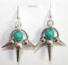 antiqued silver spike and turquoise gothic emo punk - EARRINGS Jewellery
