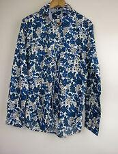 BODEN Sz S Shirt Menswear Indigo floral printed Blue white BNWOT