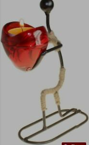 Candle tealight Holder man gives heart glass and metal  valentines romantic